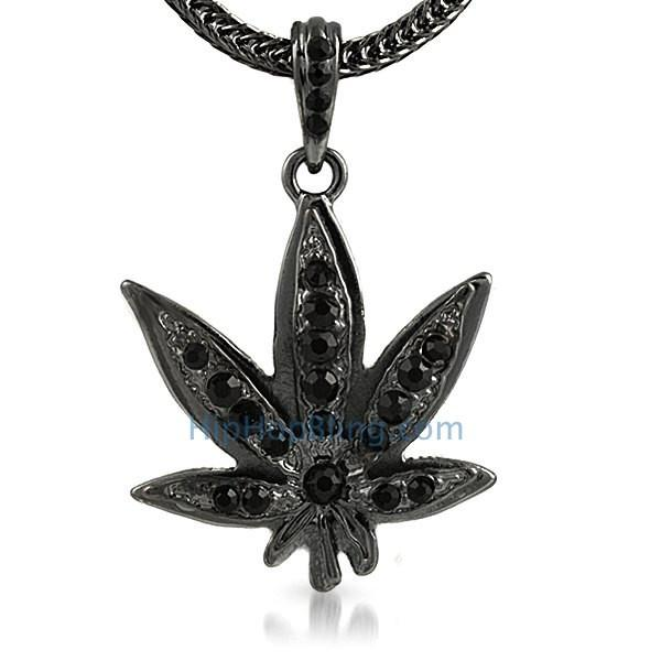 Black Marijuana Leaf Hip Hop Pendant & Chain Small