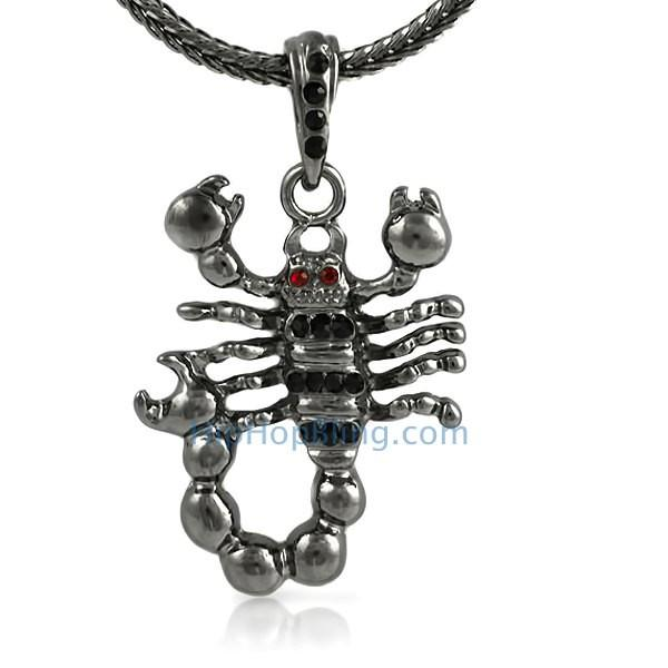 Black Scorpion Bling Pendant & Chain Small