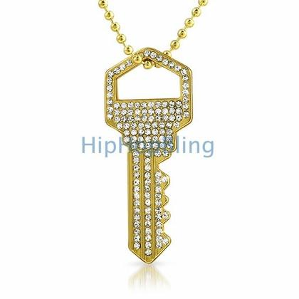 Bling Bling House Key Rhodium Pendant #2