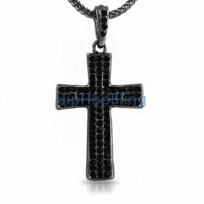 Bling Cross Black Small Bling Pendant & Chain