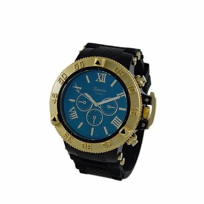 Blue Dial Gold Bezel Rubber Sports Watch