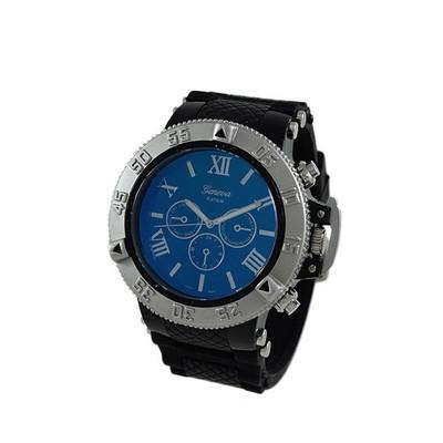 Blue Dial Silver Bezel Rubber Sports Watch