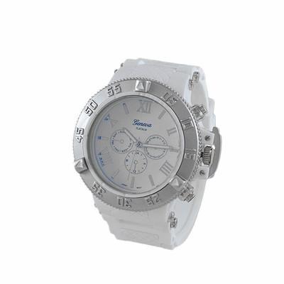 Blue Dial Silver Bezel White Rubber Sports Watch