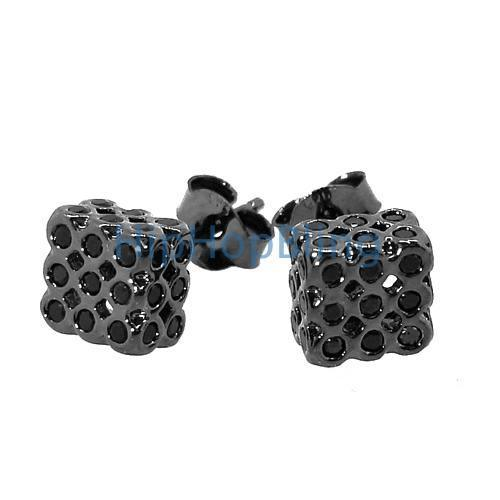 All Black 3D Bezel Cube .925 Silver Iced Out Earrings