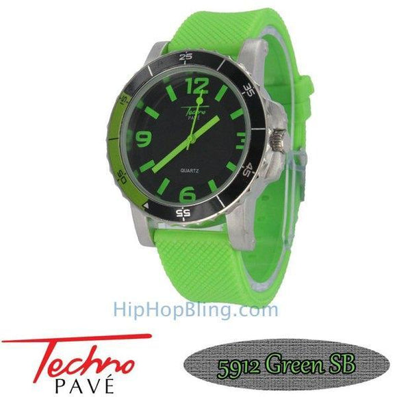 Techno Pave Sport Silver Neon Green Rubber Watch