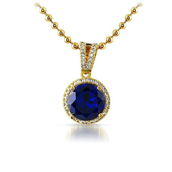 .925 Silver Gold M Round Blue Gem Iced Pendant