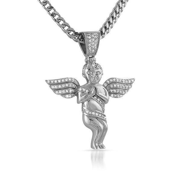Cherub Angel Mini CZ Stainless Steel Pendant