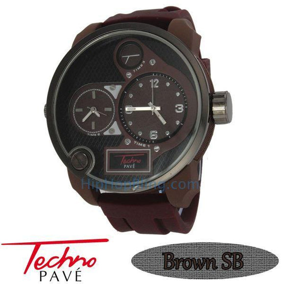 Brown Dual Time Zone Watch Rubber Band