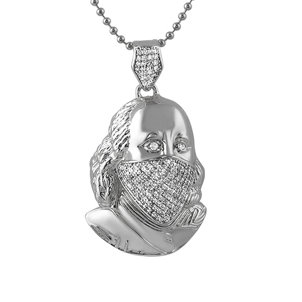Ben Franklin Rhodium Bling Bling Mask Pendant