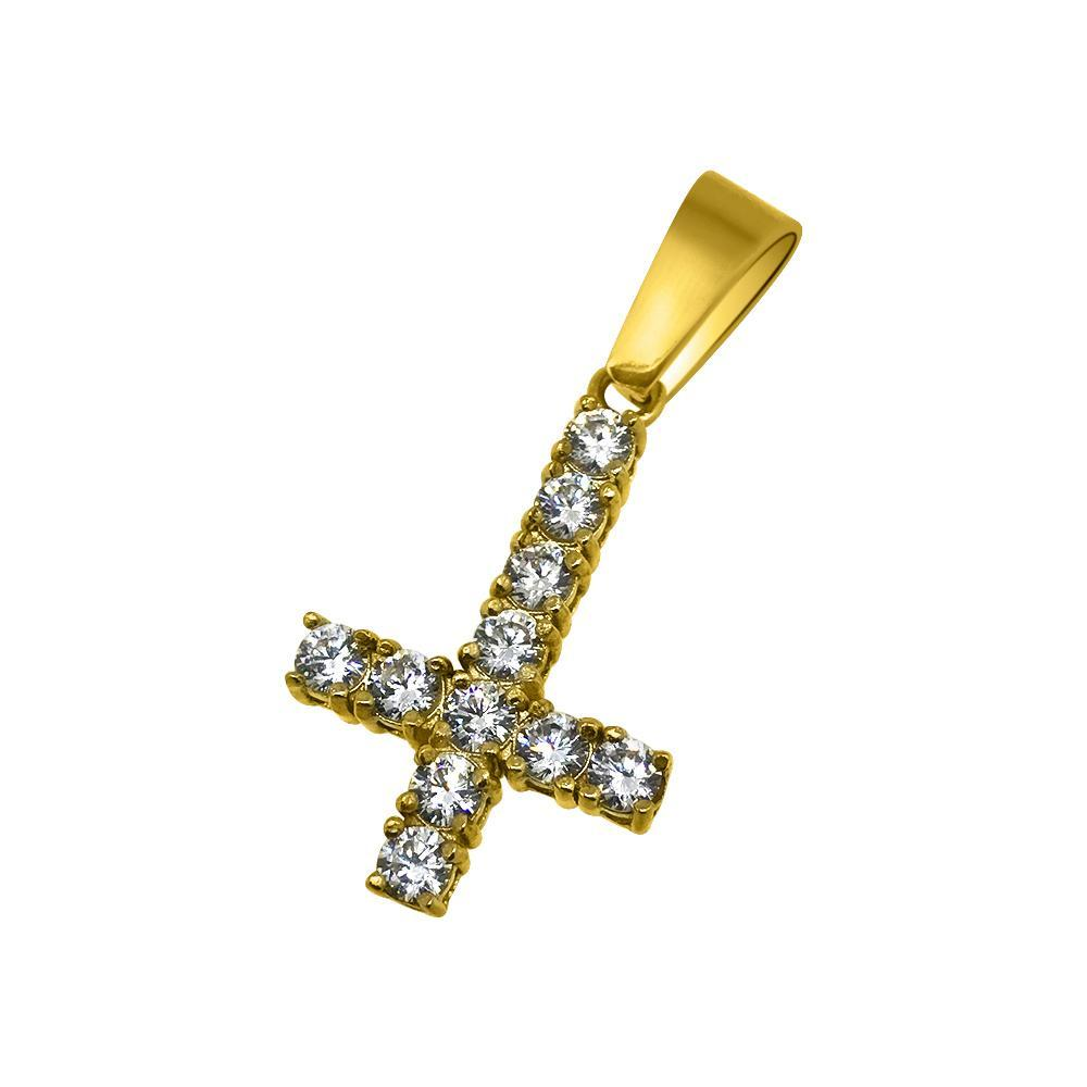 Upside Down Cross 3MM CZ Tennis Pendant Bling Gold Steel