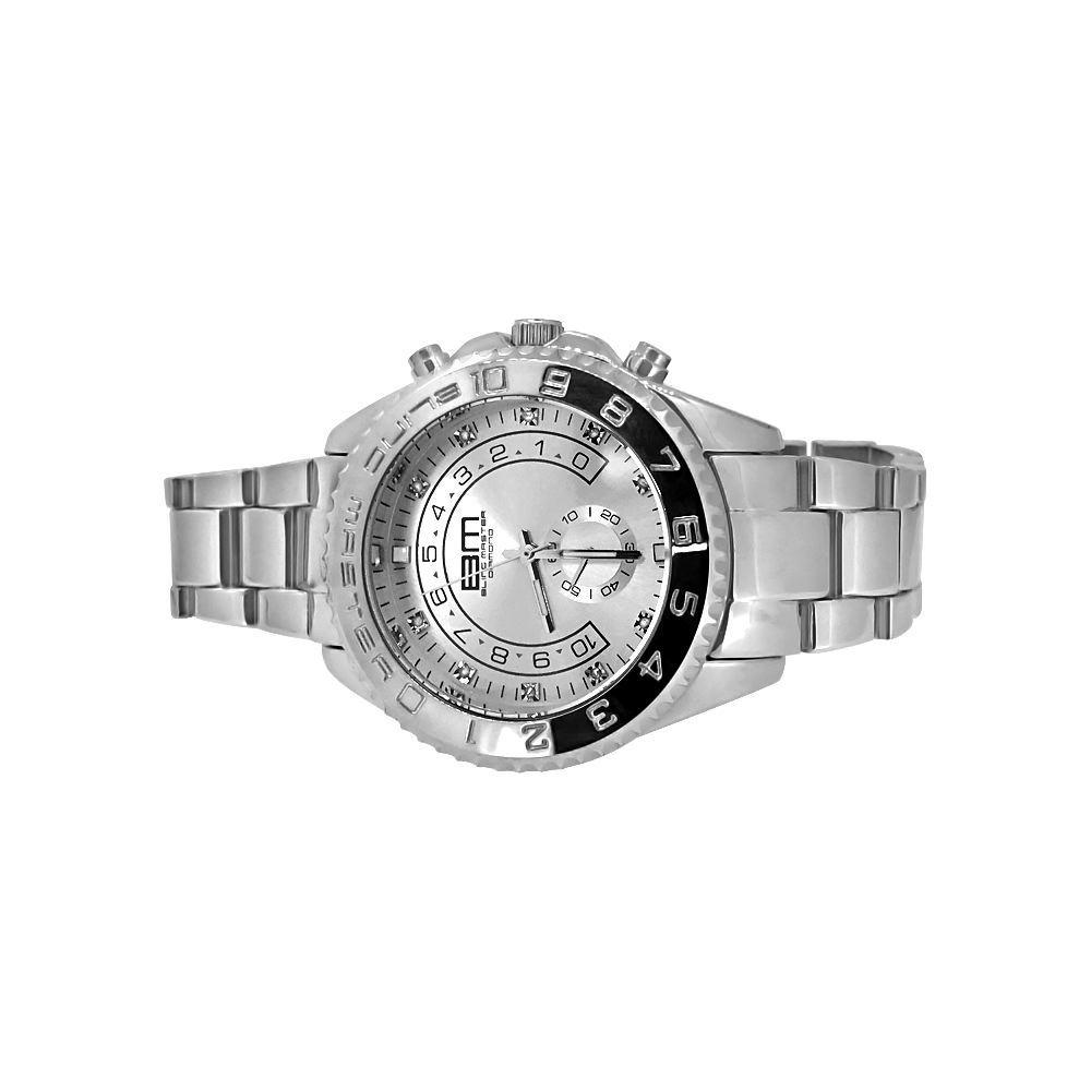 Real Diamond Silver Yacht Hip Hop Watch