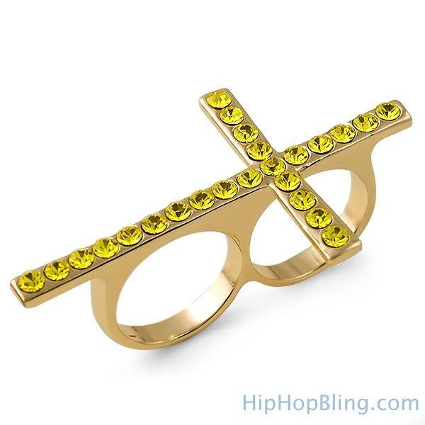 Lemonade Cross Bling Bling 2 Finger Ring