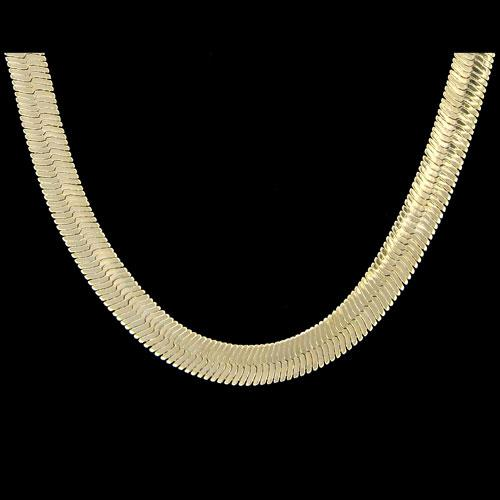 Herringbone 6mm 24 Inch Gold Plated Hip Hop Chain Necklace