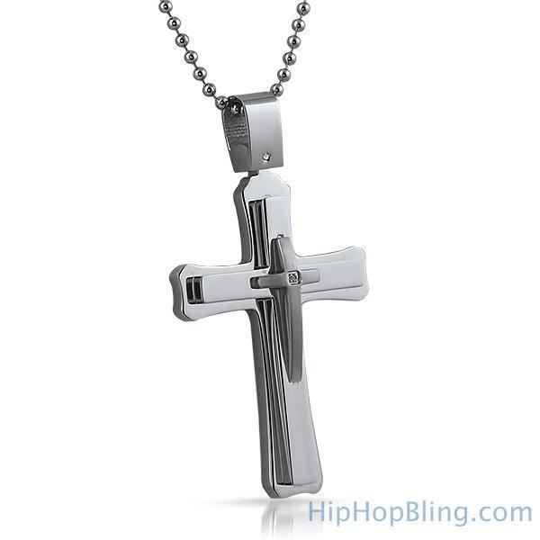 Genuine Diamond Triple Cross Pendant Steel