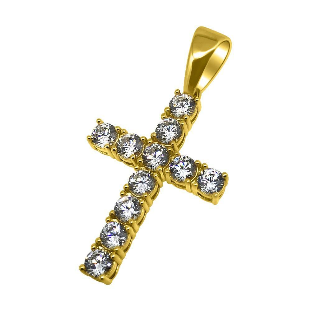 .925 Sterling Silver 4MM CZ Tennis Cross Gold