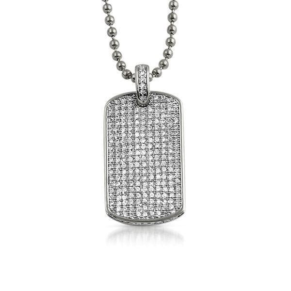 CZ Bling Bling Dog Tag Medium Pendant Rhodium
