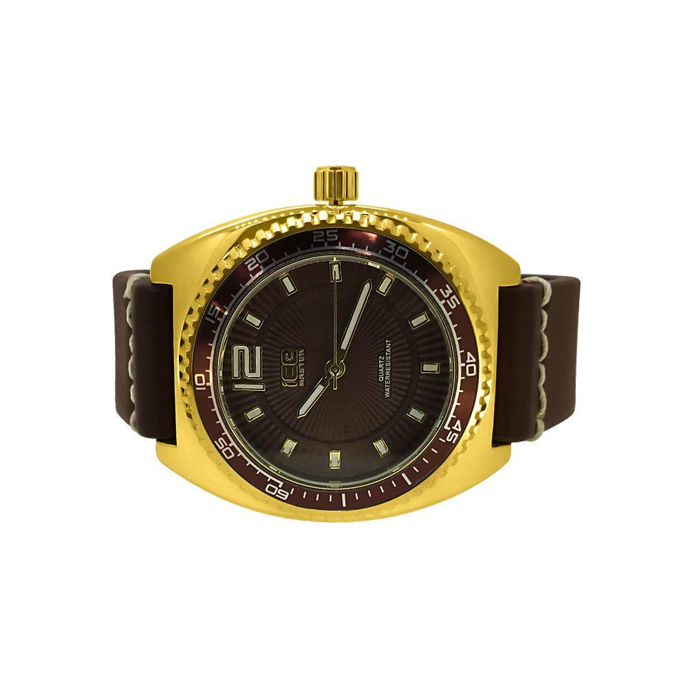 Gold Divers Watch with Thick Brown Leather Band