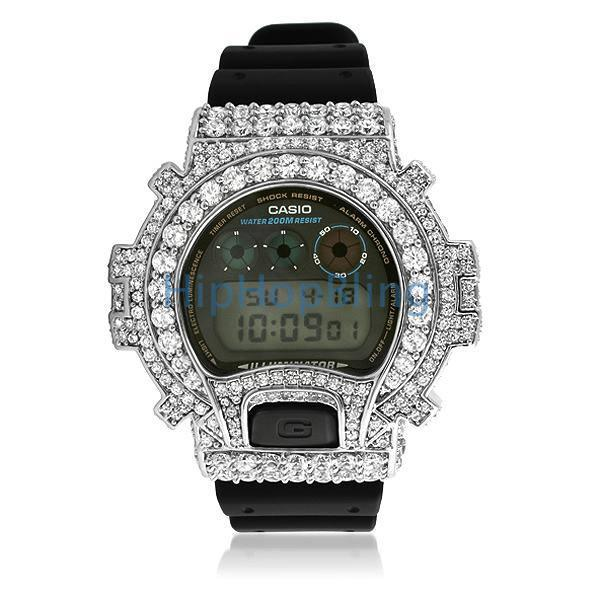 Big Boy CZ Platinum Custom G Shock Watch DW6900