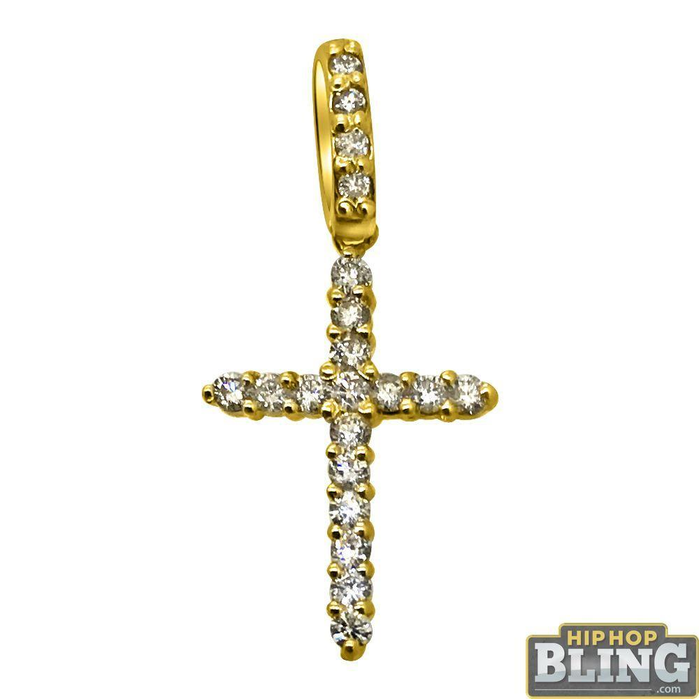 .39cttw Diamond Nano Cross Pendant 14K Yellow Gold