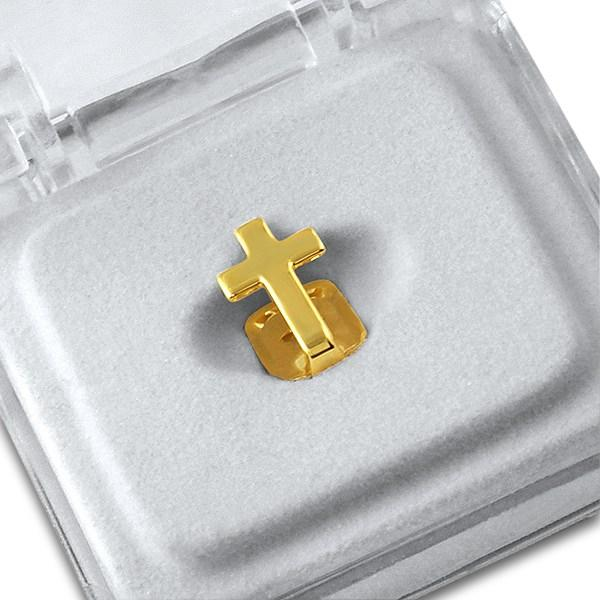 Gold Cross Single Tooth Cap Grillz