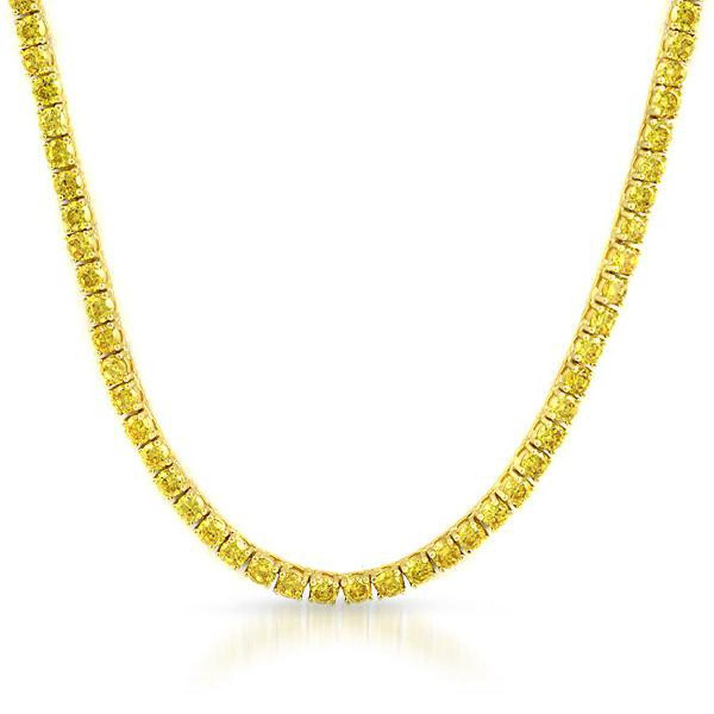 .925 Silver 4MM CZ Bling Tennis Chain Lemonade