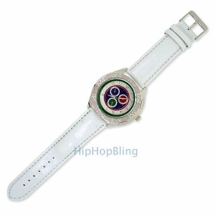 Color Chrono Dial White Band Hip Hop Watch