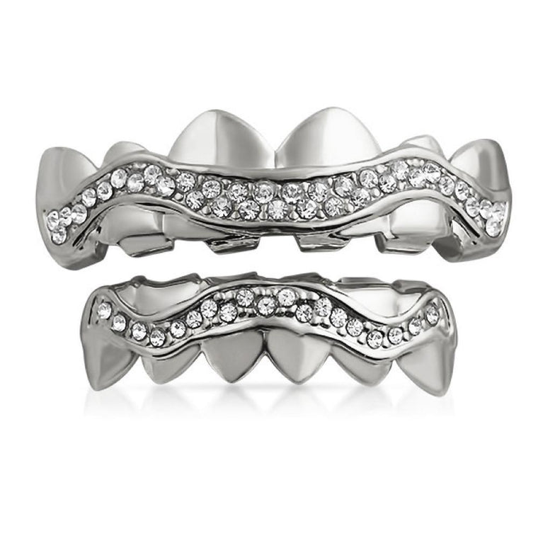 Bling Bling Grillz Silver Wavy Iced Out Set