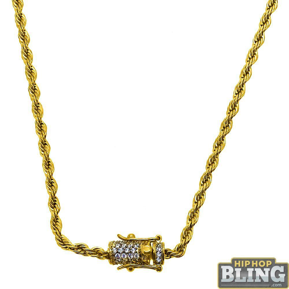 CZ Diamond Lock Gold Steel 3MM Steel Rope Chain