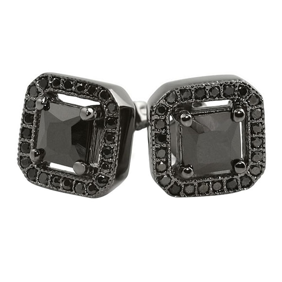 Black CZ Princess Ice Island Earrings