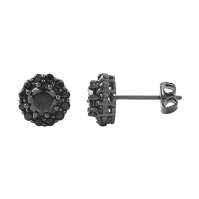 Black Flower Bling Bling CZ Earrings