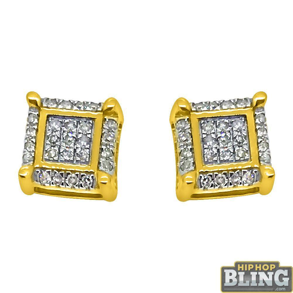 10K Yellow Gold Fancy Box .15cttw Diamond Earrings