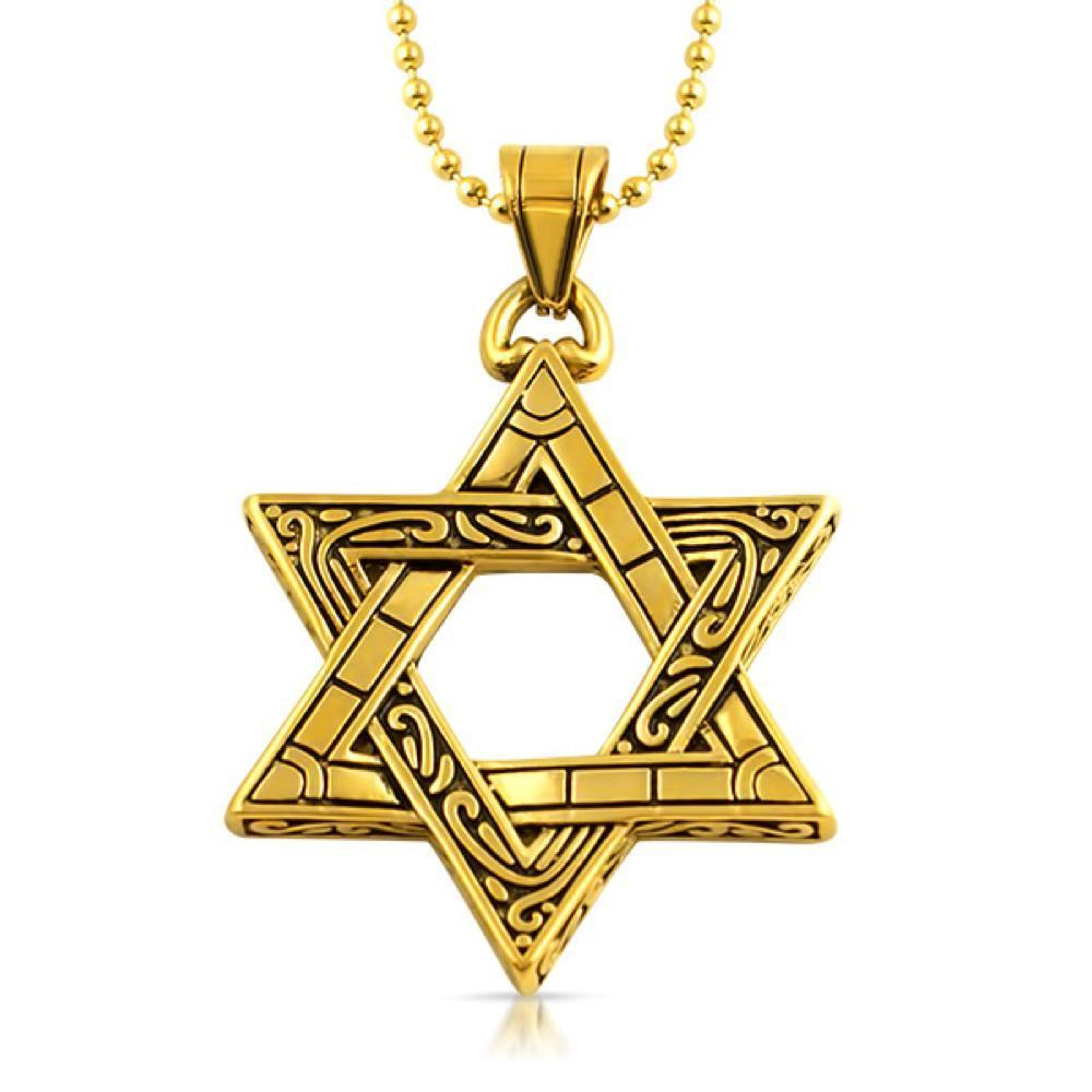 Jewish Star of David Fancy Pendant Gold Steel