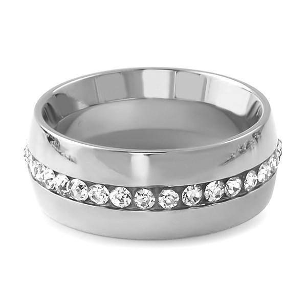 Single Row Iced Out Stainless Steel Ring