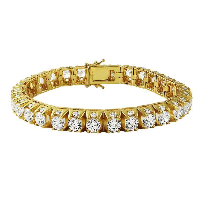 3D CZ Thick Tennis Bracelet Gold