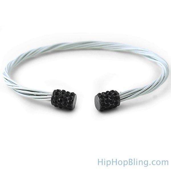 Black Bling White Guitar String Style Bracelet