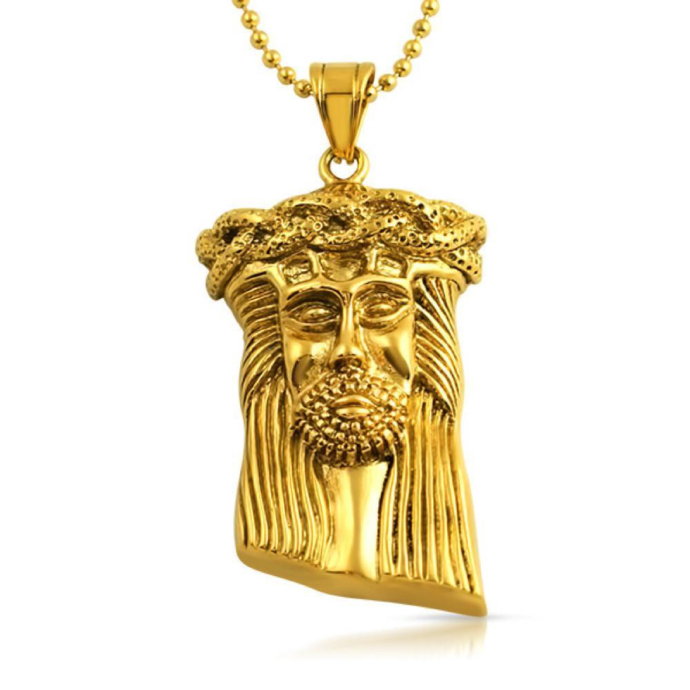 Jesus Detailed Hip Hop Pendant Gold Steel