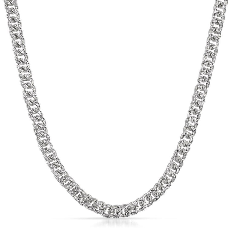 .925 Silver 6MM CZ Bling Bling Cuban Links Chain in Rhodium
