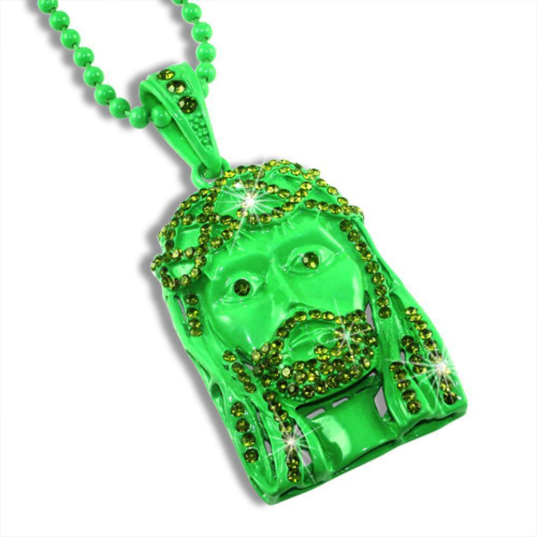 Money Green Jesus Piece Pendant  Rosary Chain