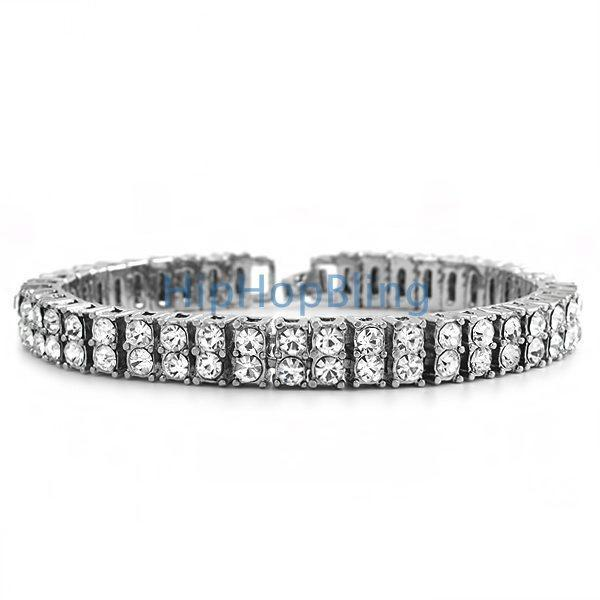 2 Row Iced Out Bracelet Rhodium Bling