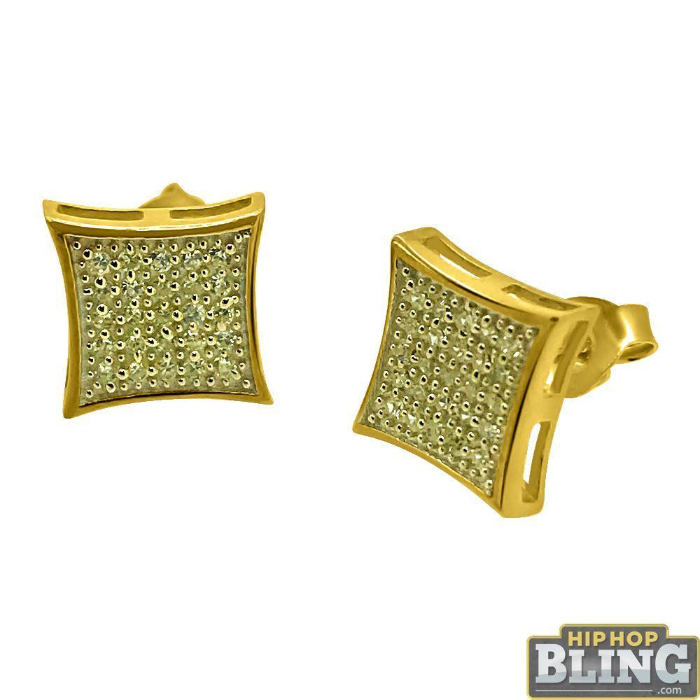 Canary CZ Gold Medium Kite Hip Hop Earrings