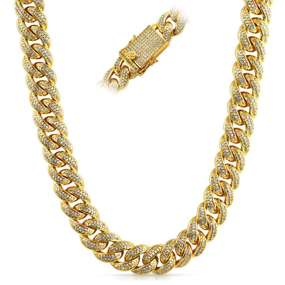 .925 Silver Full CZ Clasp Gold Cuban Chain 15MM Thick