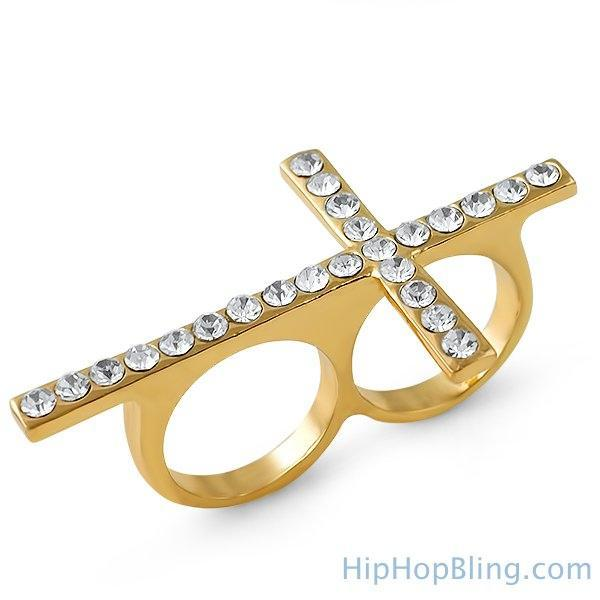 Gold Cross Bling Bling 2 Finger Ring
