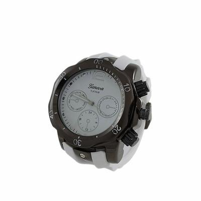 Divers Black Sports Watch White Rubber Band