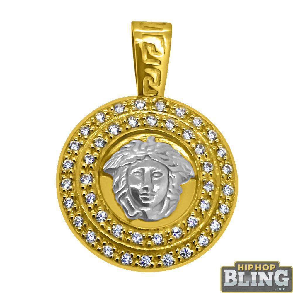 10K Yellow Gold Medusa Medallion with Double Row CZ
