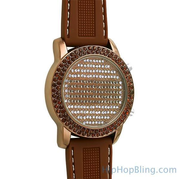 LED Digital Round Face All Brown Bling Watch