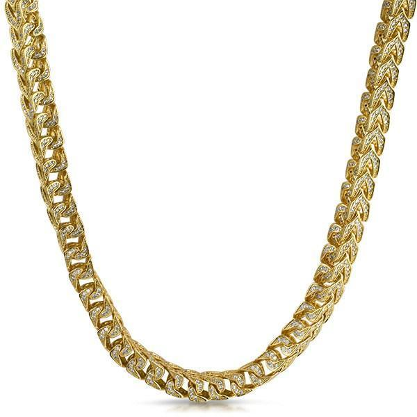 .925 Silver Franco CZ 8MM Bling Bling Chain Gold