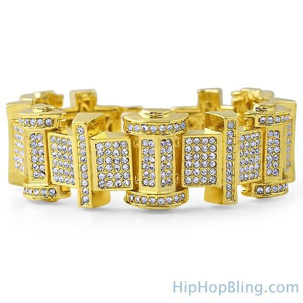 Gold Ice Bar Bling Bling Bracelet