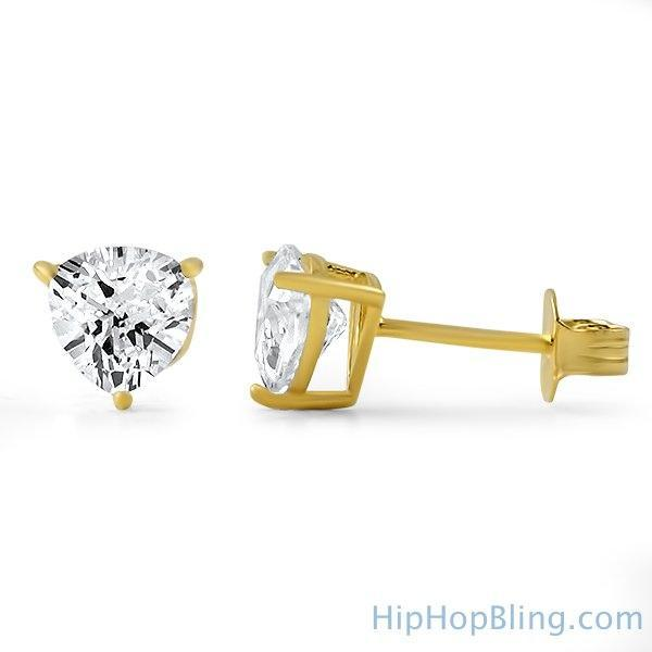 Trillion Cut CZ Stud Earrings Gold .925 Silver