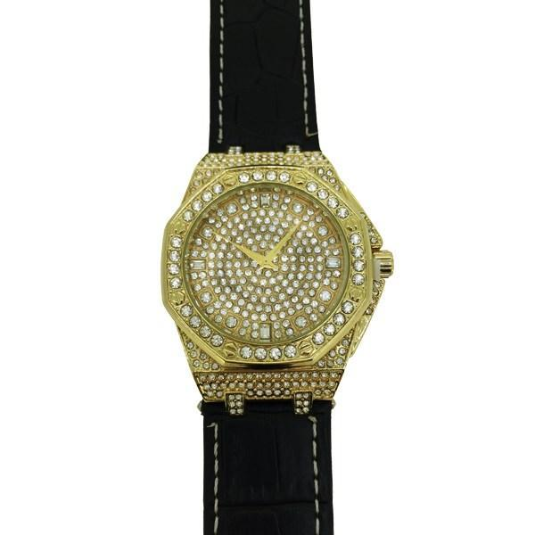 Bling Bling Octagon Hip Hop Watch Black Leather