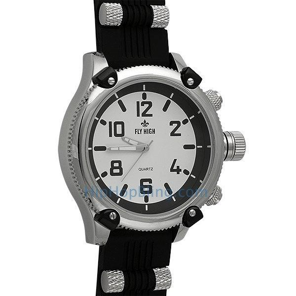 Silver Black Rubber Mens Bars Watch